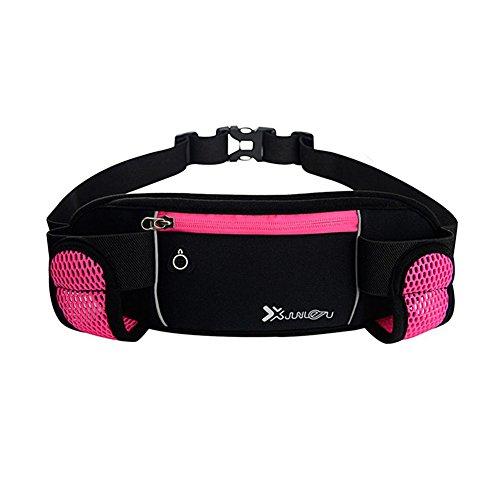 Reefa Laufband Multifunktionale Reißverschlusstaschen Wasserdichte Taille Tasche mit 2 Wasserflaschen Taillenpaket zum Laufen Wandern Radfahren Klettern Rosa