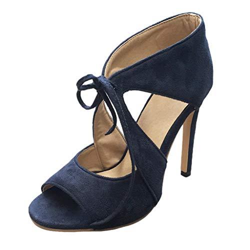 Nina Peep Toe Pumps (Damen Braut Stiletto Blau Rot Beige Wildleder Damen Heels Hochzeit Brautjungfer Pumps Schnürschuhe Ausgeschnitten Sandalen Peep Toe Sandale Größe 4 5 6 7 8)
