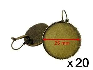 Lot de 20 supports boucles dormeuses cabochon 25mm