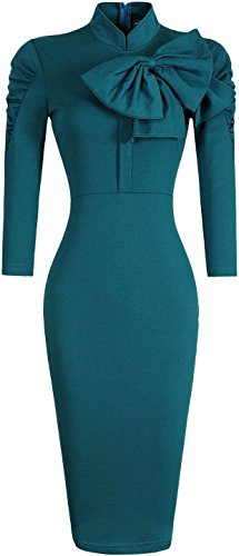 jeansian Donna Retro Fascino Elegante Sottile Noble Bow Gonna Pencil Dress WKD283 Green L