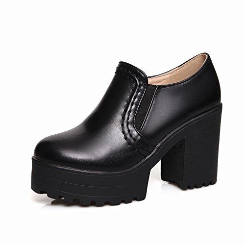 Mee Shoes Damen bequem modern populär runder toe Geschlossen dicker Absatz Plateau Pumps Schwarz