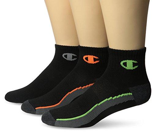 Champion Men's 3 Pack Ankle Training Socks, Black/Grey, 6-12
