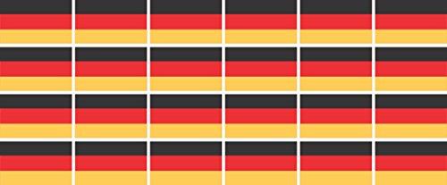 Mini Aufkleber Set - Pack glatt - 33x20mm - Sticker - Fahne - Germany - Deutschland - Flagge - Banner - Standarte fürs Auto, Büro, zu Hause und die Schule - 24 Stück