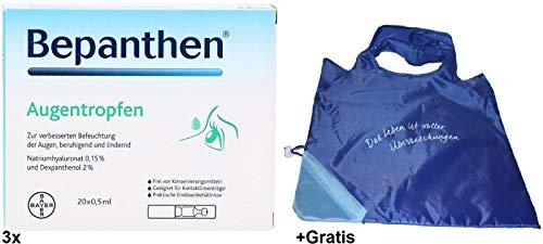 Augentropfen 3x 20x 0,5ml von Bepanthen mit Natriumhyaluronat und Dexpanthenol. Gratis: Shopper Einkaufstasche to go