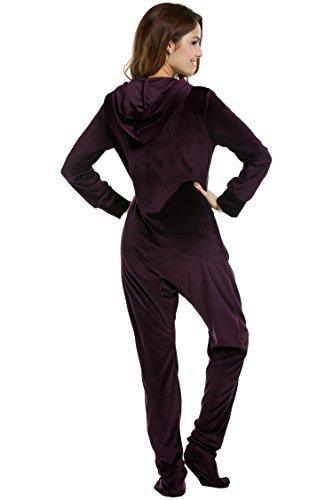 UNibelle Erwachsenenstrampler mit Füßen Onesie Schlafanzug Schlafoverall Jumpsuit körpergrößenabhängige Pyjama Dunkles Violet Dunkles Violet XXL - 5