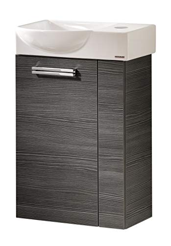 FACKELMANN Como Gäste WC Set Links 2 Teile/Keramik Waschbecken/Waschbeckenunterschrank mit 1 Tür/Badmöbel mit Soft-Close/Türanschlag Links/Korpus: Schwarz/Front: Schwarz/Breite: 45 cm