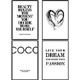 decomonkey | Poster 4er - Set schwarz-weiß Abstrakt Kunstdruck Wandbild Print Bilder Kunstposter Wandposter Posterset Spruch Coco Chanel Herz