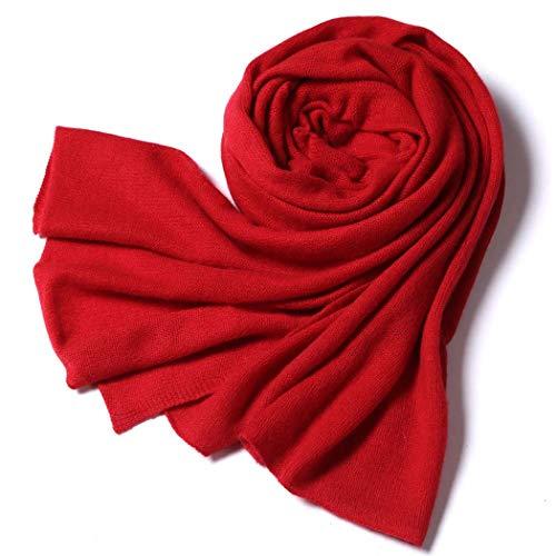 MISS&YG Women Es 100% Kaschmir Schal Female Schal Herbst Und Winter Classic Soft Feel Schal,Red -