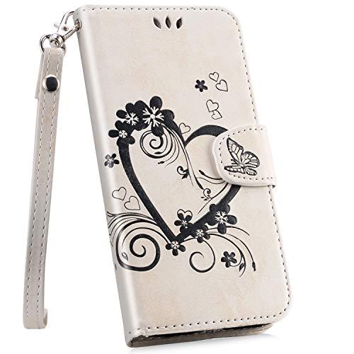 Ysimee Hülle kompatibel mit Galaxy A8 Plus 2018, Herz-Design Einfarbig Leder Tasche Handyhülle Flip Ständer klapphülle Card Holder Schutzhülle Schlanke Brieftasche + 1 X Stylus Pen, Weiß Transparente Front Leder