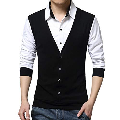 Xmiral Herren Tops Bluse Lässige Mode Gefälschte Zwei T-Shirt Langarm Patchwork Shirt Gentleman Weste Party Kostüm(M,Schwarz)