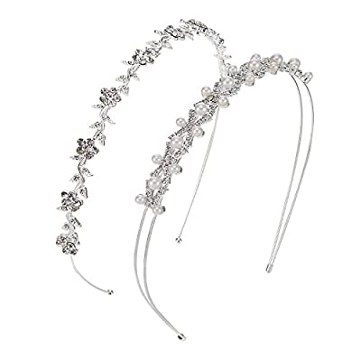 2 Pieces Wedding Party Women's Faux Pearl Rhinestones Headband Flower and Leaves Crown Hair Band for Bride Bridesmaids by Pangda