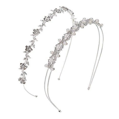 2 Stück Hochzeit Party Faux Perlen Strass Kopfband der Frau Blumen und Blätter Krone Haarband für Braut Brautjungfern (Blume Kronen)