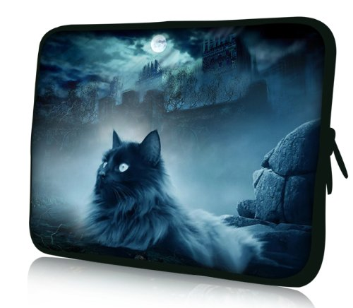 Luxburg® Design Laptoptasche Notebooktasche Sleeve für 17,3 Zoll (auch in 10,2 Zoll | 12,1 Zoll | 13,3 Zoll | 14,2 Zoll | 15,6 Zoll | 17,3 Zoll) , Motiv: Katze und Felsen