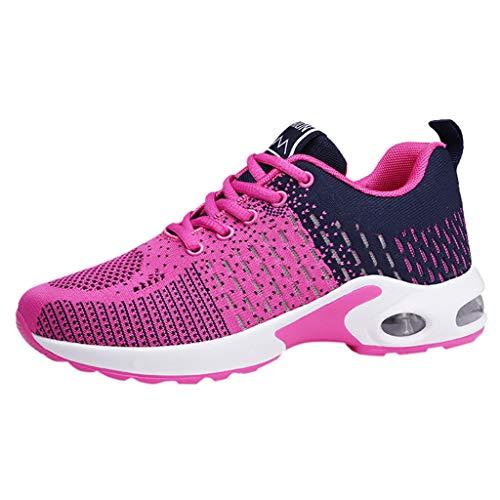 SHE.White Sportschuhe Damen Laufschuhe Air Cushion Luftkissen Sneakers Turnschuhe Fitness Gym Leichtes Bequem Schuhe für Running Fitness Gym Outdoor 35-40