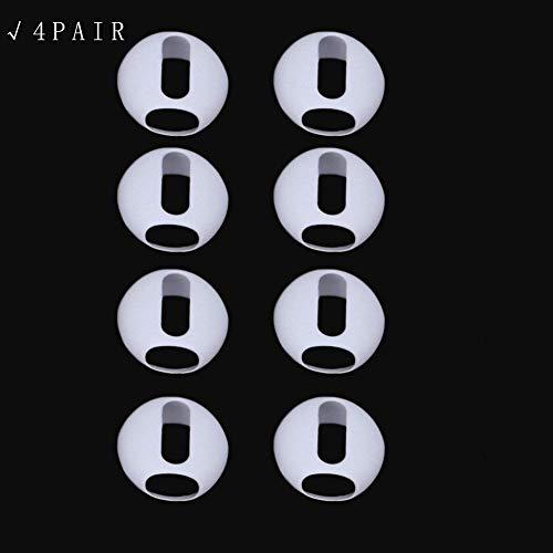 ECMQS 2 Paar ultradünnes Silikon Earbuds Tipps Cover Ohrpolster für Apple AirPods iPhone X 8 7 6 6 S Plus 5 5S SE EarPods (4Paar Weiß) (Skateboard-kopfhörer)