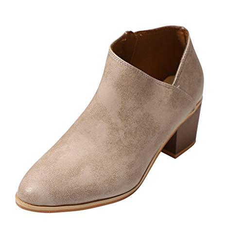 13cf04f9a Minetom Mujeres Botas Sólido Tacón Ancho PU Boots Moda Casual Puntera  Redonda Zapatos Cremallera.