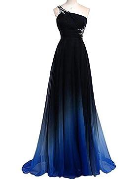 Pecho de hombro único con vestimenta gradual y vestido de gasa vestido de noche vestido
