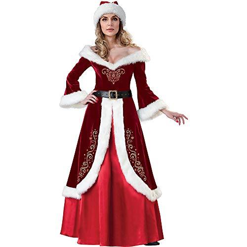 Dihope, Costume de Noël Fête Robe Vêtement Déguisement Mère Noel Cosplay Scène pour Femmes Cape Roug