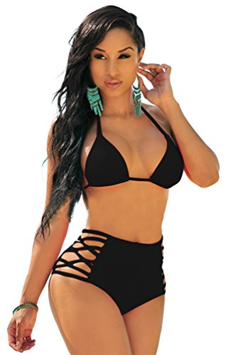 WanYang Damen Bandage Push Up Padded Badeanzug High Taille Bikini Set Schwarz