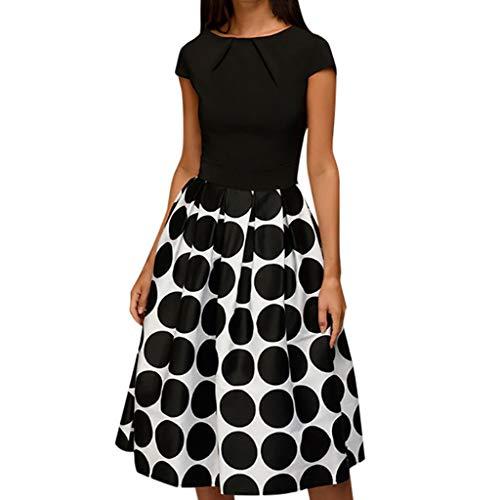 CUTUDE Damen Kleider Röcke Kurzarm Sommerkleider Elegant Wave Point Taschenschärpen Knielangen Splice Casual Abendkleider (Schwarz, XX-Large)