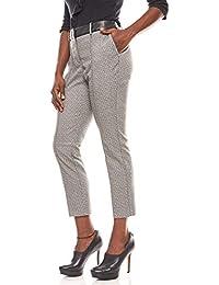 Patrizia DINI Damen 7 8 Hose mit Kunstlederbesatz Stoffhose Trend-Hose  Schwarz e01119c803