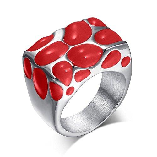 Uomo Donna Matrimonio Banda Acciaio Inossidabile Fungo Castring Red Dimensione 27 Di AieniD