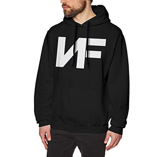 Herren Kapuzenpullover NF Rapper Logo Print Langarm Hoodie Sweatshirt für Teenager Jungen Herren Schwarz Gr. M, Schwarz -