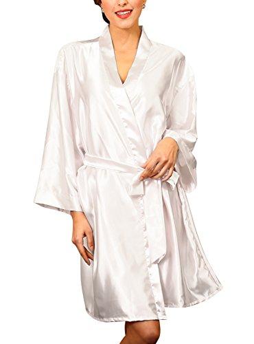 Dolamen Unisex Kimono Robe Femmes Homme, Femmes Chemises de nuit, Robe peignoir en satin de soie Robe de nuit , Buste 132cm, 51.97 pouces, grande taille pour tout le monde Blanc