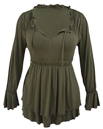 Olive Vintage Blazer (Vian Lundgaard - Damen Frauen Taillierte Tunika mit Schlüssellochausschnitt, Olive, Größe XS)