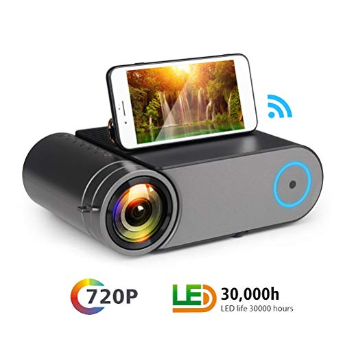 YYBF Beamer Mini, Videoprojektor Full HD LED, 120'' Heimkino, Unterstützt WiFi HDMI VGA AV USB TF PC Bluetooth Android 6.0, Für Heimkino Büro Reisen Unterhaltung Video Spiel Musik -