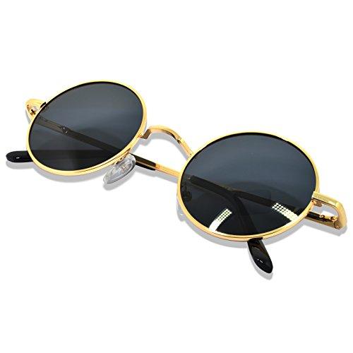 WHCREAT Uralt Retro Unisex Rund Polarisierte Sonnenbrille Federscharnier Metall Rahmen UV 400 Schutz für Männer Frauen - Gold Rahmen Schwarz Linse