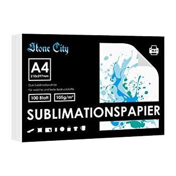 Stone City Sublimationspapier A4 f/ür jeden Tintenstrahldrucker mit Sublimationstinte 100 Seiten 105gsm