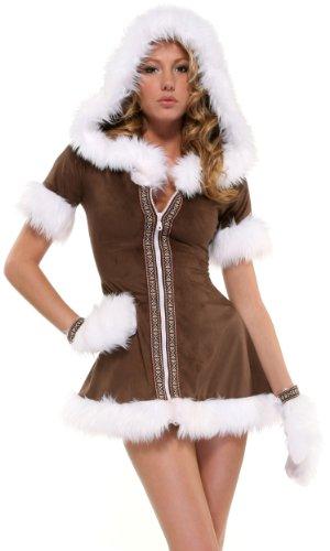 Forplay Damen Eskimo Kisses Erwachsenengröße Kostüme, Braun, 550050