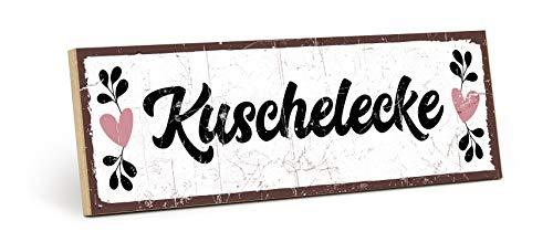 TypeStoff Holzschild mit Spruch - KUSCHELECKE - im Vintage-Look mit Zitat als Geschenk und Dekoration zum Thema Liebe und Zärtlichkeit (9,5 x 28,2 cm)