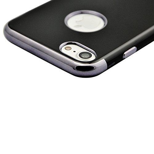 Fraelc® Plating Rose Gold Rahmen TPU Case Weiche Silikon Hülle iPhone 7 Bumper Schale Schutzhülle Handyhülle für iPhone 7 4,7 Zoll Schwarz