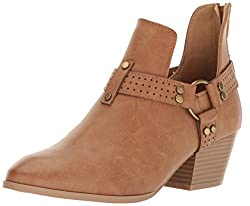 Qupid Womens Travis-09 Harness Boot, Camel, 6 M US