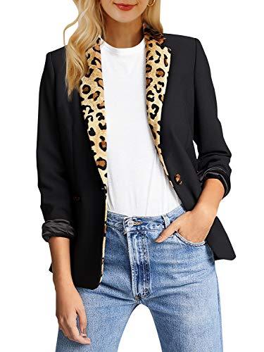 Annybar Damen Leopardenprint Mäntel Winter Herbst Elegant Patchwork Mantel Blazer Outerwear Schwarz