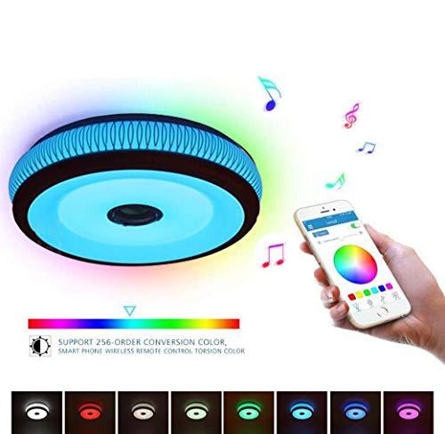 Bluetooth Música Luz de techo con altavoz, Ø45 CM WiFi inalámbrica LED...