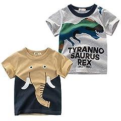 Idea Regalo - Oyoden Bambino Maglietta Manica Corta Ragazzi Cotone T-Shirt Casual Cartone Animato Tops 1-8 Anni 2 Pack (Set C, 90/1-2 Anni)