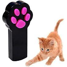 UEETEK Cat Juguete Interactivo LED Luz Beam Puntero Juguete del animal doméstico Herramienta de rasguño de ejercicio (Negro)
