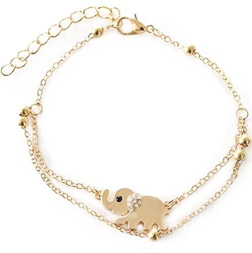 JUNGEN Línea de doble capa de oro tobillera con colgante de elefante cadena dama chicas pulsera de tobillo descalzos sandalias joyería pie