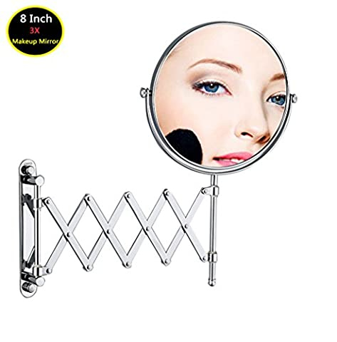 8 Inch Double-Sided Extension Wall Mount Mirror with 3X Magnification, Adjustable Foldable Extending Chrome Finish Vanity Mirror, Double Sides Magnifying Cosmetics Wall Mirror for Makeup Shaving Bathroom