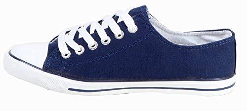 Katie - sportliche Damen Sneaker Schnürschuhe Turnschuhe LOW TOP aus Textil 36 37 38 39 40 41 Steine-Dunkelblau