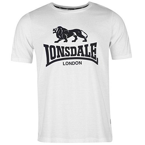 Lonsdale Herren LL T-Shirt Rundhals Weiß/blau UK XXX Large (Logo-print Top Tonale)