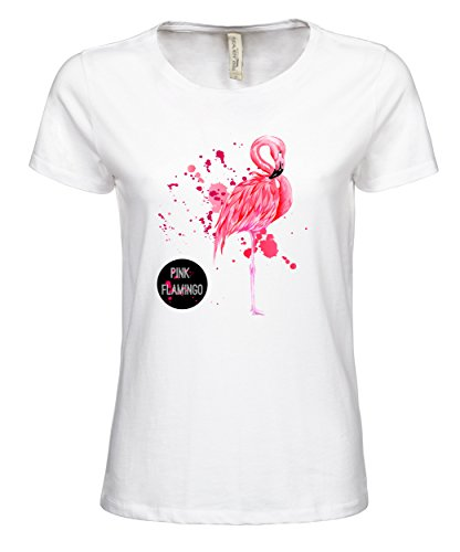 Damen T-Shirt Ladies Luxury Tee Pink Flamingo White S (Tee Einlaufvorbehandelt Womens)