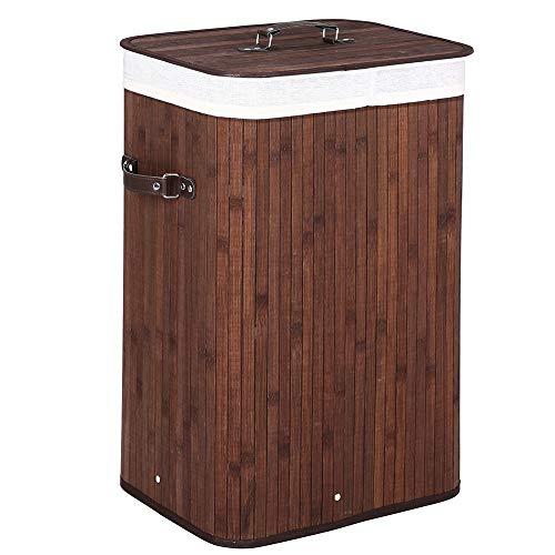 Bakaji cesto biancheria sporca portabiancheria casa in legno di bambù e tessuto contenitore pieghevole salvaspazio con coperchio e manici capacità 70lt dimensione 40 x 30 x 60 cm (marrone)