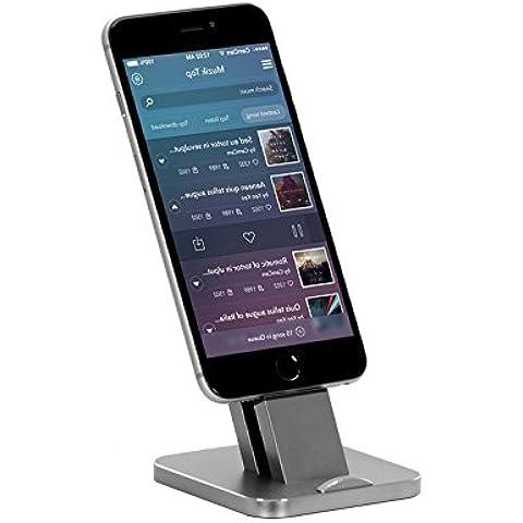 iPhone soporte de carga, WoWo®–Soporte de aluminio Base de carga estación de carga para iPhone Series con funda (espacio gris)