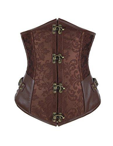 Corsé para mujer Burvogue, estilo Steampunk y gótico, para debajo del busto y la cintura Marrón marrón Large