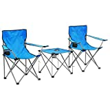 Festnight Conjunto de Mesa y 2 Sillas Plegables de Camping, Muebles Portátiles para Camping Azul 3 Piezas
