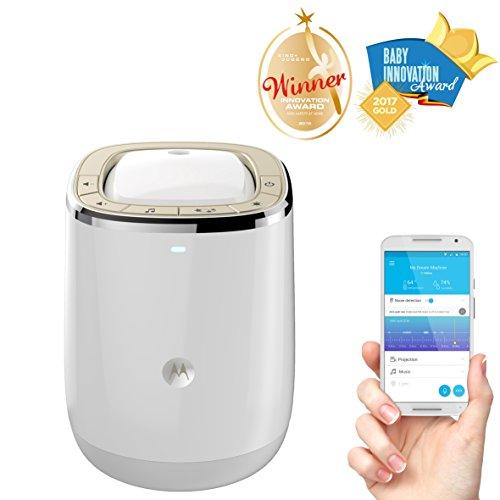 Imagen para Motorola Smart Nursery Dream Machine - Vigilabebés audio Wi-Fi y proyector de luces y sonidos con control de temperatura y humedad, color blanco